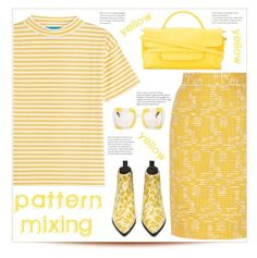 pattern mixing by mmk2k on Polyvore featuring polyvore, fashion, style, M.i.h Jeans, Oscar de la Renta, Zanellato, Dolce&Gabbana, clothing, yellow, floral, stripes and patternmixing