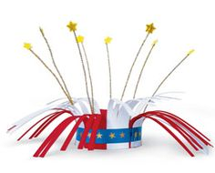 Firecracker Crowns.  Made with craft foam and pipecleaners.  Great for the bike parade!