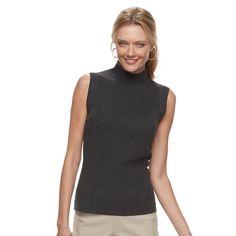 Women's Dana Buchman Sleeveless Turtleneck Top, Size: Medium, Dark Grey