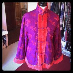 Shanghai Tang designer vintage style jacket Elegant Silk Brocade jacket accented with shearing fur Shanghai Tang Jackets & Coats