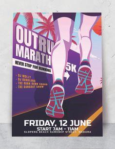 Running Marathon Even Poster Template AI, EPS Poster Templates, Marathon Running