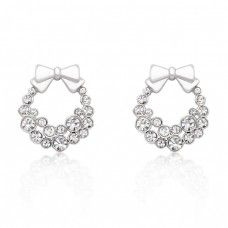 HOLIDAY WREATH CLEAR CRYSTAL EARRINGS $22.00