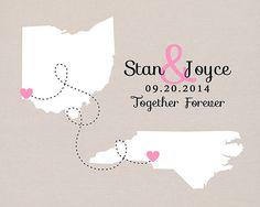 Custom Wedding Gift -  Art Print, Engagement Gift Idea, Deployment Gift for Husband Overseas, Two States, Long Distance, Boyfriend