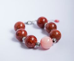 Large bold stone bracelet huge 20mm round coral and by byVellamo