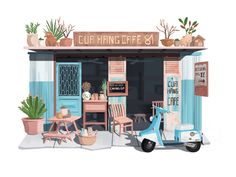 Little House 04 illustration hiwow blue car battery house Building Illustration, House Illustration, Graphic Design Illustration, Watercolor Illustration, Cafe Shop Design, House Design, Cafe Concept, Textile Pattern Design, Environment Concept Art