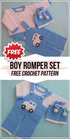 crochet Boy Romper Set free pattern #sweater&hat #crochet#freecrochetpattern via @shareapattern.com Baby Boy Knitting Patterns Free, Newborn Crochet Patterns, Baby Sweater Knitting Pattern, Baby Clothes Patterns, Baby Patterns, Baby Knitting, Knitting Hats, Crochet Bebe, Crochet For Boys
