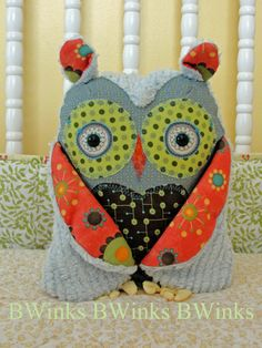 Stuffed Animial Owl Friend   Modern Blue  Limited  Only by BWinks, $38.00
