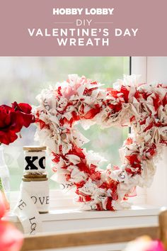Embellish a ready-made wreath with your favorite fabrics, ribbons and other accents to create unique decor for Valentine's Day. Diy Valentines Day Wreath, Valentine Crafts, Decor Crafts, Diy Home Decor, Diy And Crafts, Ac Moore, Hobby Ideas, Valentine's Day Diy, Diy Wreath