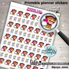 Printable Planner Stickers, Erin Condren, Kawaii Stickers, Phone Call Stickers, Life Planner, Instant Download, Planner Accessories, DIY