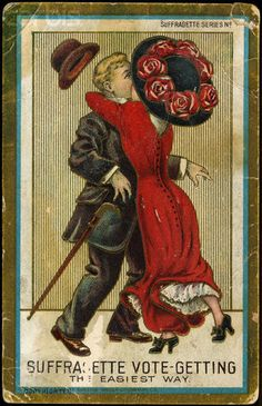 Suffragette Series No Getting-Woman Kissing Man-Antique Postcard Vintage Postcards, Vintage Images, Suffragette Colours, Women Suffragette, Deeds Not Words, Vintage Artwork, Historical Pictures, Women In History, Retro
