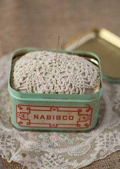 "crocrochet: "" Doily pin cushion """
