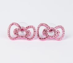 Hello Kitty Ribbon Stud Earrings: Pink Rhinestone