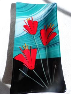 Items similar to Fused Glass Serving Dish on Etsy Fused Glass Plates, Fused Glass Art, Glass Dishes, Stained Glass, Glass Flowers, Glass Birds, Mosaic Art, Mosaic Glass, Mosaic Mirrors