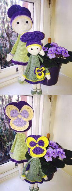 Violet Vicky flower doll made by Suzanne B - pansy - crochet pattern by Zabbez