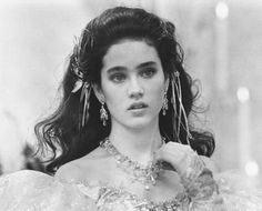 Jennifer Connelly's hair details in Labyrinth (1986).