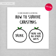 How to survive Christmas... Drink! Cheeky, naughty, funny Christmas card