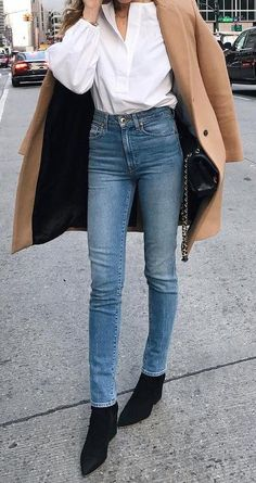 #fall #outfits Camel Coat // White Tulle Shirt // Skinny Jeans // Black Suede Booties