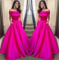 Off the Shoulder Fuchsia Prom Dress,Satin Prom Dress,Long Formal Evening Dresses,A Line Evening Dress,Girls Party Dress by DestinyDress, $197.31 USD