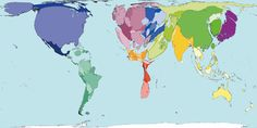 World map proportioned to greenhouse gas emissions.