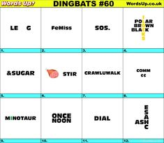 Dingbats & Whatzits Rebus online and printable Puzzles #dingbats #whatzits #rebus #puzzle #game #brainteasers #dingbat #whatzit #quiz #games #free #quotes #sayings #proverbs #phrases #fun #ideas Rebus Puzzles, Printable Puzzles, Logic Puzzles, Word Puzzles, 15 Minute Morning Yoga, Brain Busters, Brain Teasers Riddles, Lateral Thinking, Brain Breaks