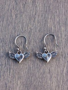 #Flying #heart #Earrings ♥...Hoping for someone can put angel wings that will make my heart fly