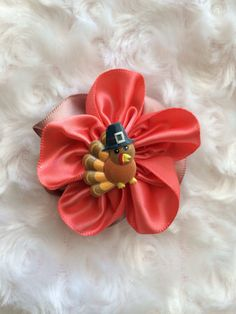 Thanksgiving Satin Flower Hair Clip Girls Fall by BandsForBabes, $3.50