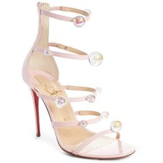 Women's Christian Louboutin Atonana Ornament Sandal (1292100 IQD) ❤ liked on Polyvore featuring shoes, sandals, pompadour, red strap sandals, red stilettos, red strappy shoes, beaded sandals and stiletto sandals