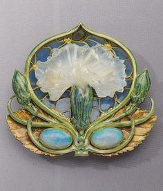 Art Nouveau Gold, Enamel, Opal & Moulded Glass Brooch by René Lalique Lalique Jewelry, Enamel Jewelry, Opal Jewelry, Jewelry Art, Vintage Jewelry, Jewelry Design, Gold Jewelry, Bijoux Art Nouveau, Art Nouveau Jewelry