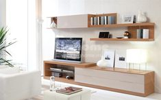 Walnut and White Wall Storage & Display with TV Stand & Shelves Tv Furniture, Living Room Furniture, Living Room Decor, Furniture Design, Furniture Stores, Living Rooms, Tv Stand Shelves, Room Shelves, Modern Tv Units