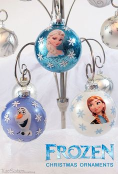 These adorable DIY Frozen Christmas Ornaments are super easy to make and that Disney Frozen fan in your family will love to see them on your Christmas Tree. Find out how to make your own Elsa, Anna and Olaf Christmas Decorations.  And for more fun Frozen projects follow us at http://www.pinterest.com/2SistersCraft/.