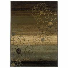 Abstract Floral Rug - Brown
