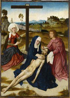 Dirck BOUTS Haarlem, vers 1415/1420 - Louvain, 1475 La Déploration du Christ H. : 0,69 m. ; L. : 0,49 m. Entré au Louvre sous le nom de Rogier van der Weyden, ce tableau se situe certainement assez tôt dans la carrière de Bouts, vers 1460, lorsque, ayant quitté Haarlem pour Louvain en passant peut-être par Bruxelles , il s'ouvre à l'influence du pathétisme de van der Weyden, sensible ici dans le Christ et surtout la Madeleine.