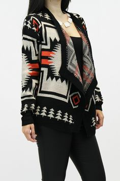 X-POSE Fashion - Native American Print Cardigan, $44.00  Native influence makes for a comfy, warm feeling we all can relate too.