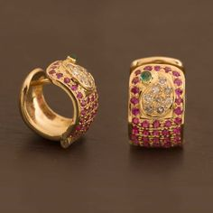 Ahalya Emerald, Ruby & Diamond Hoop Earring A1107 - Brands / Ahalya - Parisera