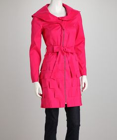 I liked this but maybe it looks a bit like you sat on post it notes! Raspberry Tulip Collar Tie-Waist Zip-Up Jacket by Samuel Dong on #zulily today!