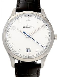 Watchmaster.com - Zenith Captain Central Second 03.2022.670/38.C498 Men's Watches, Luxury Watches, Watches For Men, Watch Companies, Men's Apparel, Steel, Silver, Leather