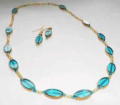 HANDMADE TEAL AND GOLD ARTISAN GLASS NECKLACE AND MATCHING EARRINGS