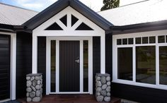 A lovely entrance to welcome friends and family to your abode. New Builds, Entrance, Garage Doors, Exterior, Windows, Black And White, Building, Outdoor Decor, House