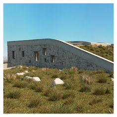 The landscape is combined with the building to create a symphony with nature. Landscape Architecture, Architecture Design, Zero Energy Building, Entrance Design, Passive House, Ecology, Contemporary, Modern, Facade