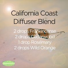 Since I'm in California this week, I thought what better time to share this essential oil blend! I love to have this in my diffuser when my home is covered in snow. It's almost as if you bottled up the beach air I'm smelling now and took it home! Have you tried this blend? I'd love to hear your thoughts! #diffuserblends #essentialoils #doterra #california #californiacoast #beach #frankincense #cedarwood #rosemary #wildorange