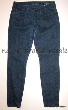 LUCKY BRAND Legend Sofia Skinny Jeans 28 x 29 Blue SNAKE Print Denim MADE IN USA #LuckyBrand #LegendSofiaSkinny