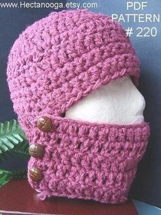 CROCHET PATTERNs Hat, num. 220 by Hectanooga.etsy.com Button Up Balaclava, Adult size