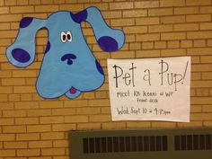 Pet a Pup! program advertisement. Eastern Michigan University. Find a local animal shelter to bring puppies to your hall for residents to play with.