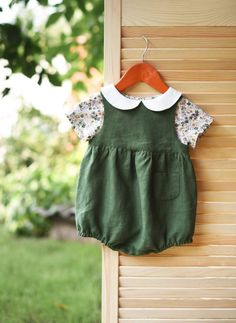 Baby Outfit Girl Outfit Linen Romper Floral Top Peter Pan
