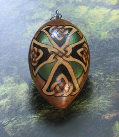 Celtic Cross with Green Egg Gourd Ornament Jean Avery