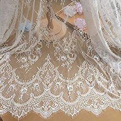 Lace Fabric Off White Retro Graceful Eyelash Floral Wedding Fabric Bridal Fabric Scalloped 59 width 1 yard Bridal Lace Fabric, Wedding Fabric, Floral Wedding, Wedding Lace, Wedding Gowns, Flower Fabric, Crochet Wedding, Diy Wedding, Wedding White