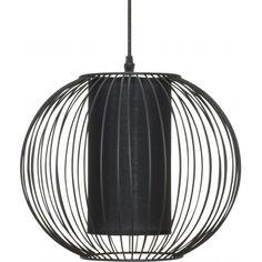 Okrągła czarna lampa wisząca Mile z metalową klatką. Dostępna również w kolorze białym. http://blowupdesign.pl/pl/35-lampy-klatki-metalowe-loft-design #lampywiszące #lampyokrągłe #lampykule #lampyklatki #cagelamps #pendantlamps #lightingstore