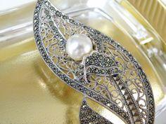 HUGE Vintage Sterling Silver 925 Pearl Marcasite Leaf Flower Brooch Pin #designer