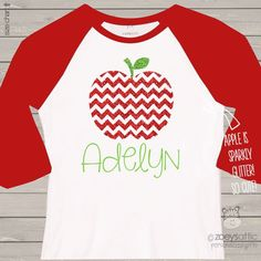 glitter shirt, sparkly apple, custom raglan shirt