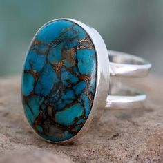 Blue Composite Turquoise Sterling Silver Ring - Blue Island | NOVICA